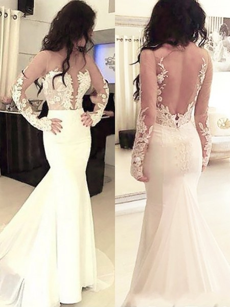 Stylish Trumpet/Mermaid Satin Long Sleeves Scoop Applique Sweep/Brush Train Dresses