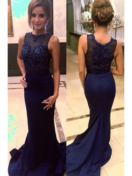 Fashion Trumpet/Mermaid Court Train Scoop Sleeveless Beading Satin Dresses