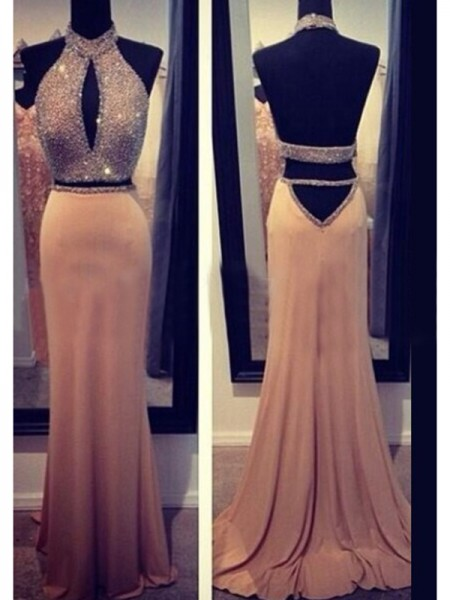 Fashion Sheath/Column Sleeveless Beading Halter Chiffon Sweep/Brush Train Dresses