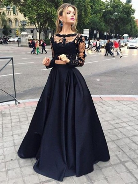 Fashion Ball Gown Bateau Satin Long Sleeves Floor-Length Dresses