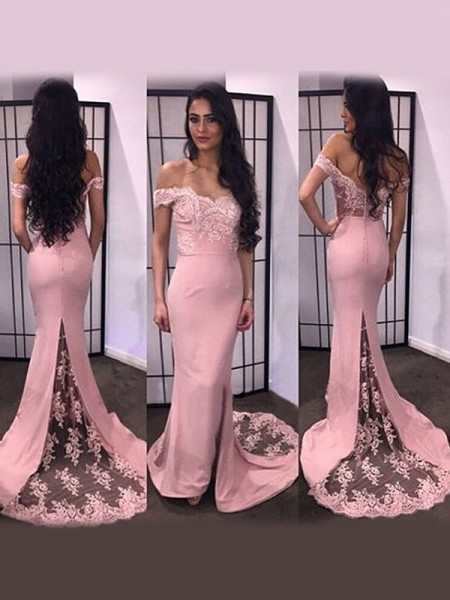 Stylish Trumpet/Mermaid Sleeveless Lace Off-the-Shoulder Satin Sweep/Brush Train Dresses