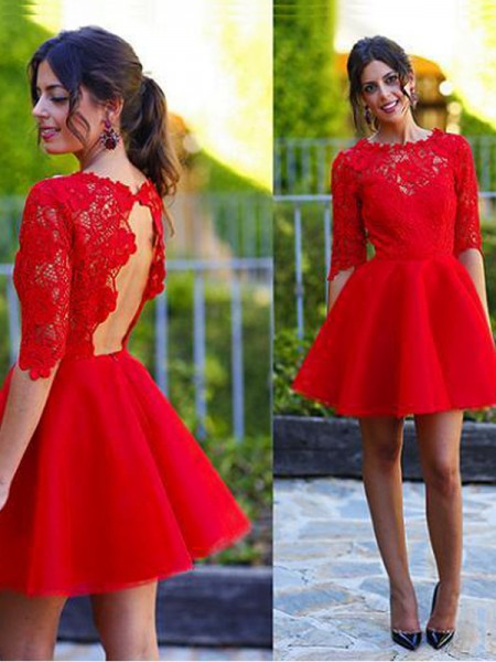 Stylish A-Line/Princess 1/2 Sleeves Lace Scoop Short/Mini Dresses