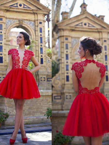 Fashion A-Line/Princess Scoop Lace Short Sleeves Short/Mini Tulle Dresses