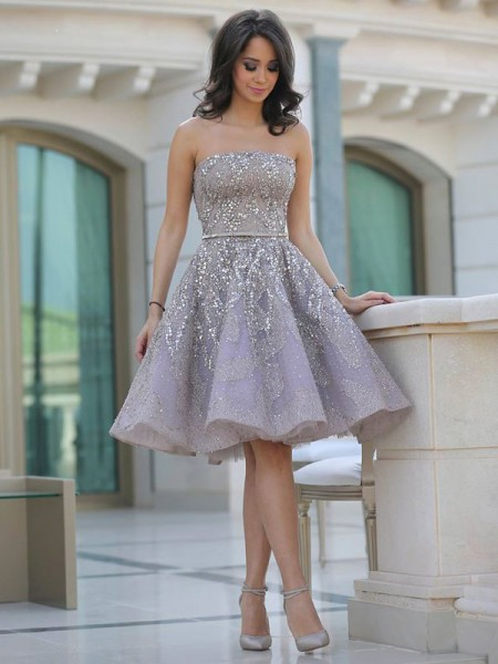 Fashion A-Line/Princess Sleeveless Sequin Strapless Knee-Length Satin Dresses