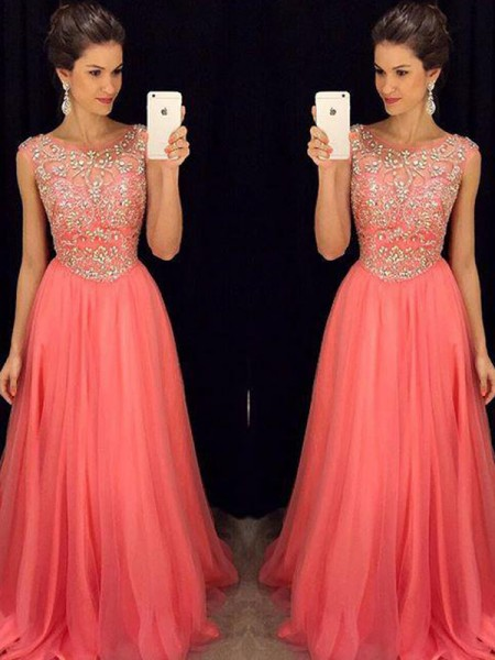 Stylish A-Line/Princess Sleeveless Beading Scoop Floor-Length Chiffon Dresses