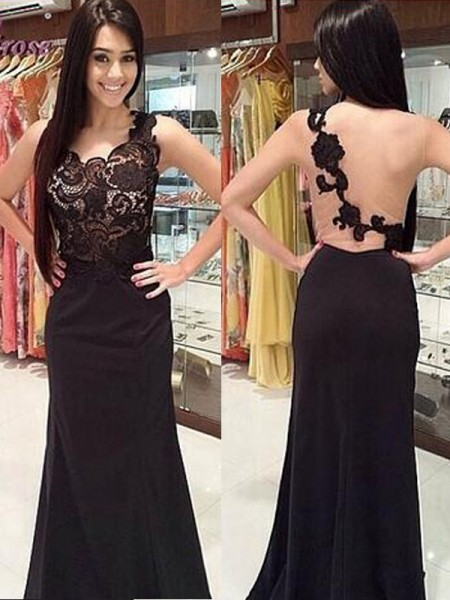 Stylish Sheath/Column Sleeveless Lace Scoop Floor-Length Chiffon Dresses