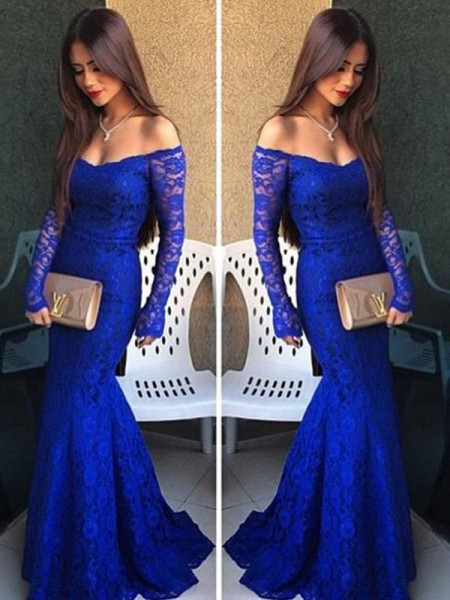 Fashion Trumpet/Mermaid Long Sleeves Lace Off-the-Shoulder Sweep Train Dresses