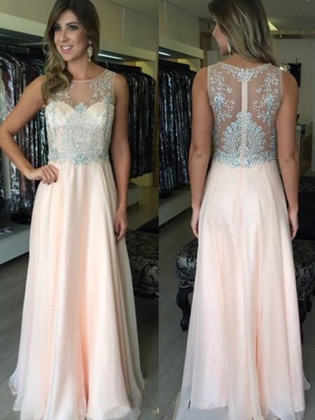 Fashion A-Line/Princess Sleeveless Beading Scoop Floor-Length Chiffon Dresses