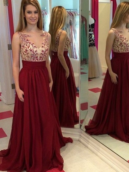 Stylish A-Line/Princess Sleeveless Applique Bateau Floor-Length Chiffon Dresses