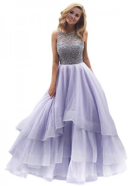 Stylish Ball Gown Sleeveless Floor-Length Scoop Beading Organza Dresses