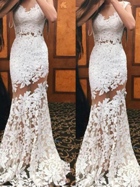 Fashion Trumpet/Mermaid Sleeveless Sweep/Brush Scoop Train Lace Dresses