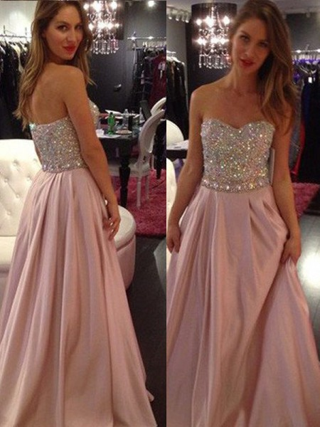 Fashion A-Line/Princess Sweetheart Floor-Length Sleeveless Chiffon Beading Dresses