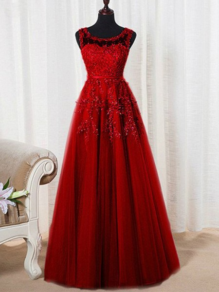 Fashion A-Line/Princess Scoop Floor-Length Sleeveless Tulle Beading Dresses