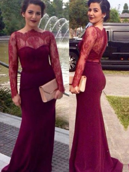 Stylish Sheath/Column Long Sleeves Lace Scoop Floor-Length Chiffon Dresses