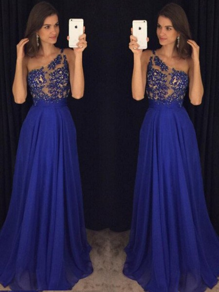 Stylish A-Line/Princess One-Shoulder Floor-Length Sleeveless Beading Chiffon Dresses