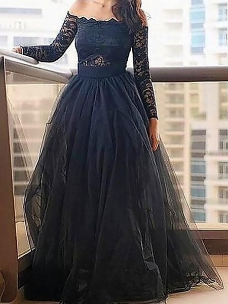 Fashion A-Line/Princess Long Sleeves Lace Off-the-Shoulder Floor-Length Tulle Dresses