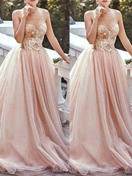 Stylish A-Line/Princess Sleeveless Sweep/Brush Sweetheart Train Beading Tulle Dresses