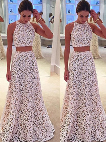 Fashion A-Line/Princess Sleeveless Floor-Length Scoop Lace Dresses