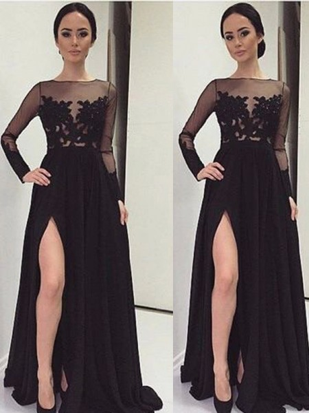 Stylish A-Line/Princess Long Sleeves Lace Bateau Floor-Length Chiffon Dresses