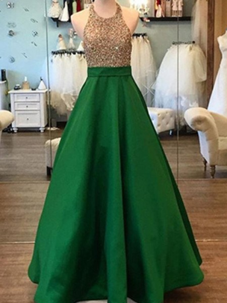 Fashion A-Line/Princess Floor-Length Halter Sleeveless Beading Satin Dresses