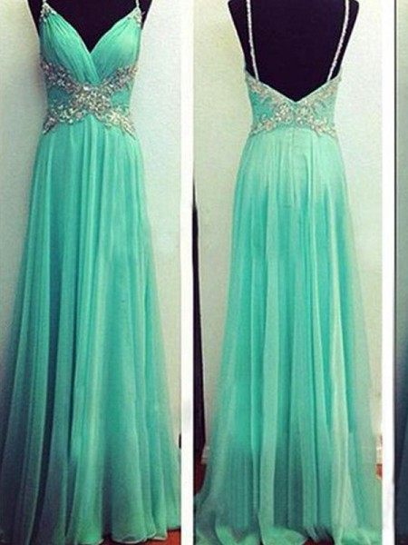 Stylish A-Line/Princess Straps Sleeveless Spaghetti Beading Floor-Length Chiffon Dresses