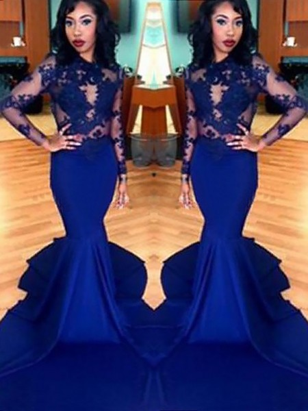 Stylish Trumpet/Mermaid Lace Satin Scoop Long Sleeves Sweep/Brush Train Dresses