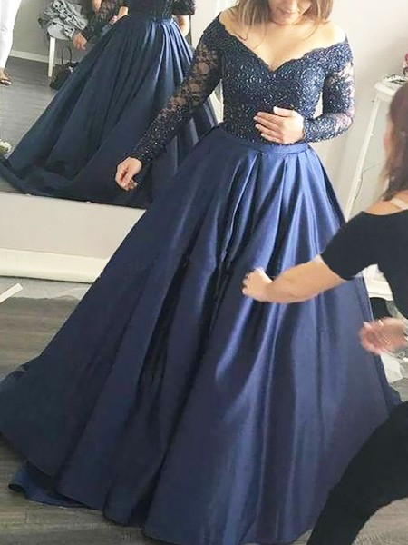 Fashion Ball Gown Long Sleeves Beading Off-the-Shoulder Satin Sweep/Brush Train Dresses