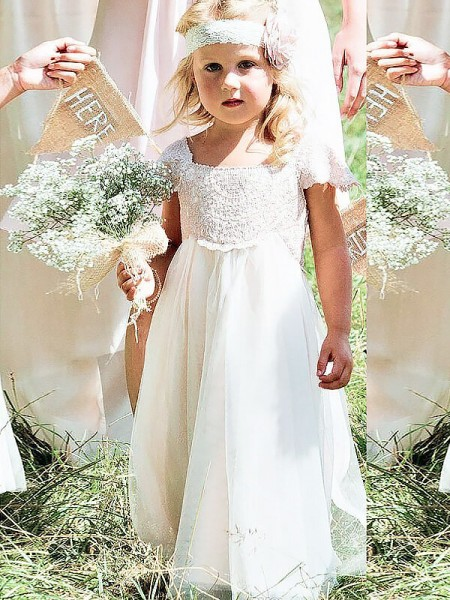 Stylish A-line/Princess Floor-Length Lace Short Sleeves Square Chiffon Flower Girl Dresses