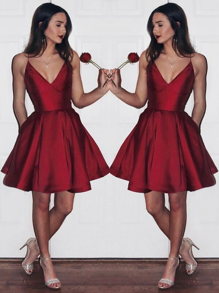Stylish A-Line/Princess Short/Mini Satin Sleeveless V-neck Dresses