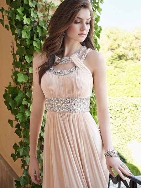 Stylish A-Line/Princess Beading Sleeveless Bateau Chiffon Floor-Length Dresses