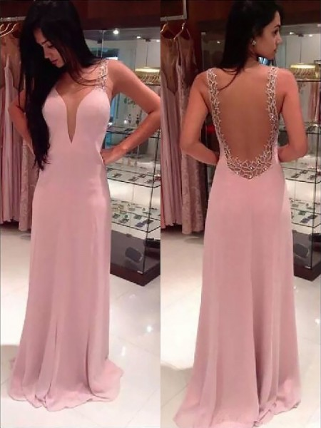 Fashion A-line/Princess Sleeveless Beading Straps Floor-length Chiffon Dresses
