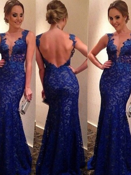 Stylish Trumpet/Mermaid Sleeveless Applique V-neck Sweep Train Lace Dresses