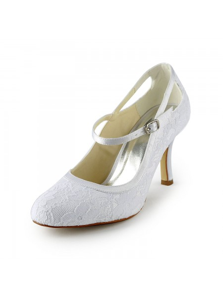 The Most Trendy Women's Pretty Satin Stiletto Heel Pumps With Buckle White Wedding Shoes
