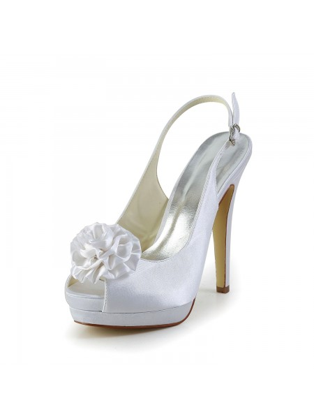 Fashion Trends Women's Satin Stiletto Heel Sandals Peep Toe With Flower White Wedding Shoes