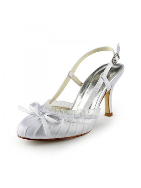 The Most Trendy Women's Pretty Satin Stiletto Heel Sandals Closed Toe With Buckle White Wedding Shoes
