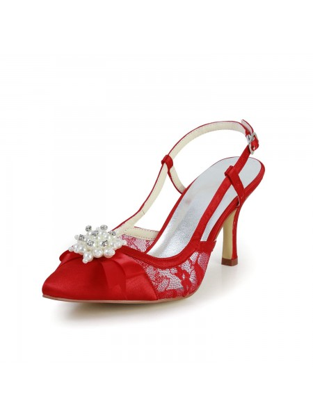The Most Stylish Women's Pretty Satin Stiletto Heel Sandals Closed Toe With Pearl Red Wedding Shoes