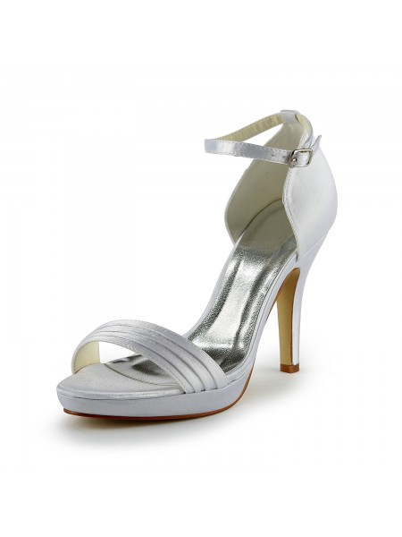 The Most Fashionable Women's Pretty Satin Stiletto Heel Sandals With Buckle White Wedding Shoes
