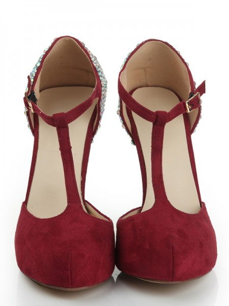 The Most Trendy Women's Suede Stiletto Heel Closed Toe Platform With Rhinestone Platforms Shoes