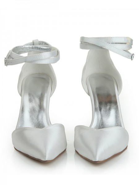 The Most Fashionable Women's Close Toe Satin Stiletto Heel Buckle Dance Shoes