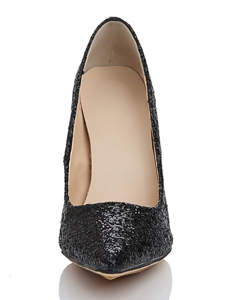 The Most Fashionable Women's Spool Heel Elastic Leather Closed Toe With Sequin High Heels