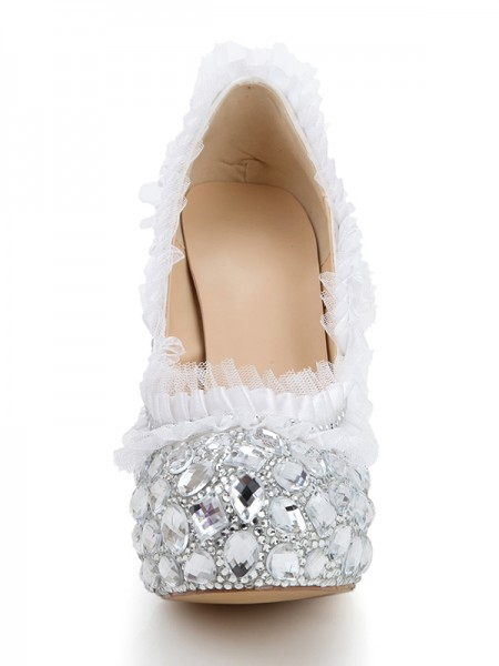 Fashion Trends Women's Stiletto Heel Platform Satin Closed Toe With Rhinestone Silver Wedding Shoes