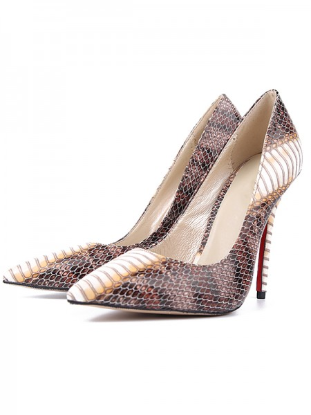 The Most Stylish Women's Snake Print PU Closed Toe Stiletto Heel High Heels
