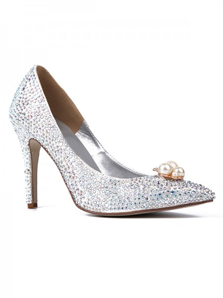 The Most Stylish Women's Closed Toe Sparkling Glitter with Rhinestones Stiletto Heel High Heels