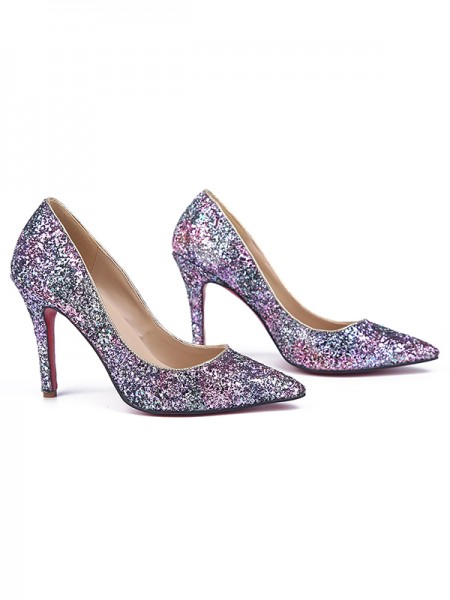 The Most Fashionable Women's Stiletto Heel Closed Toe Sparkling Glitter High Heels