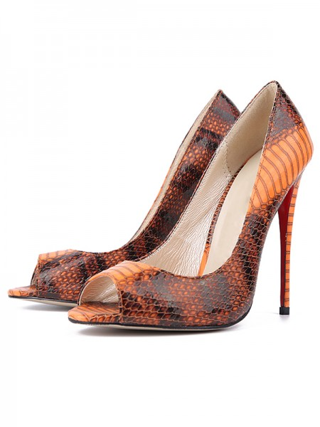 The Most Fashionable Women's Snake Print PU Peep Toe Stiletto Heel High Heels
