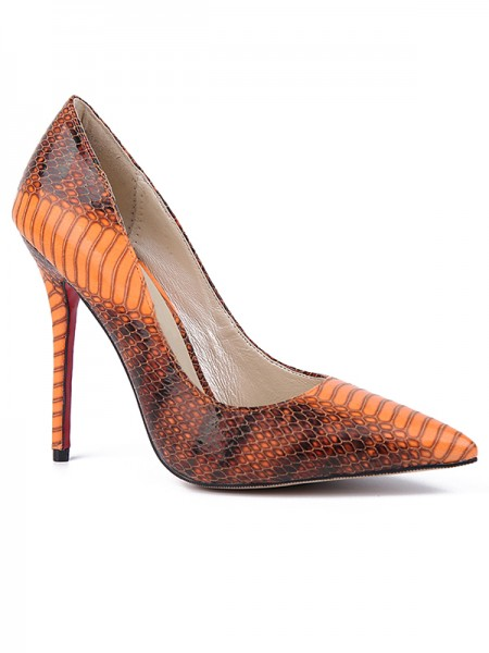 The Most Fashionable Women's Closed Toe Snake Print PU Stiletto Heel High Heels