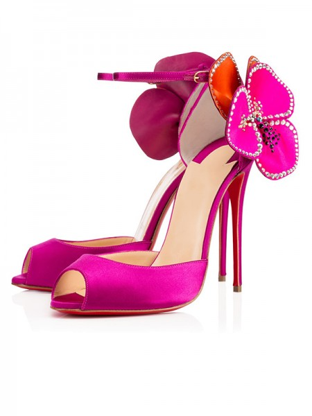 The Most Stylish Women's Satin Peep Toe with Flower Stiletto Heel High Heels