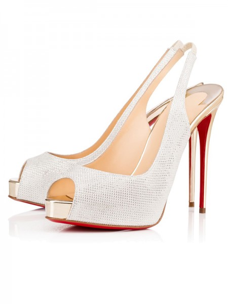 The Most Stylish Women's Peep Toe Sparkling Glitter Stiletto Heel Platform White Sandals Shoes