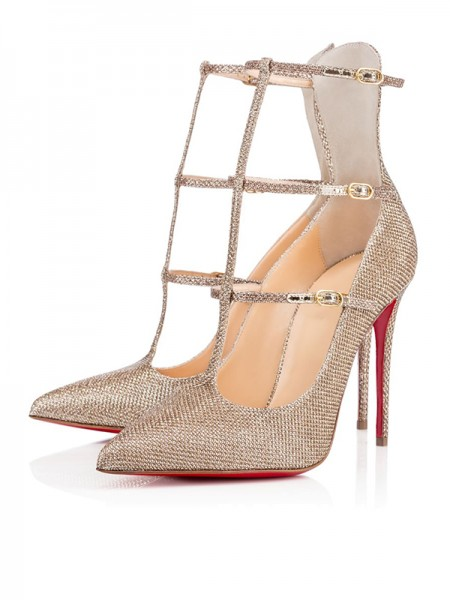 The Most Fashionable Women's Sparkling Glitter Closed Toe with Buckle Stiletto Heel High Heels