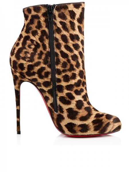Fashion Trends Women's Leopard Print Horsehair Stiletto Heel Ankle Boots